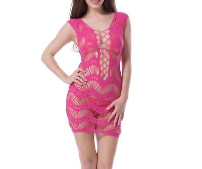 Damen Catsuit Pink Teddy Mini Netz Dessous Fishnet Gogo Reizwäsche C-String S/M