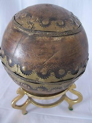 Old Brass & Wood Ball Orb Sphere Hand Tooled Ornate Detailed Decorative w/ Stand