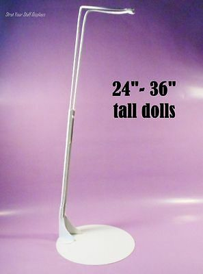 """1 DOLL STAND Kaiser #4001 WHITE. Fits 24""""- 36"""" tall DOLLS &TEDDY BEARS also. NEW"""