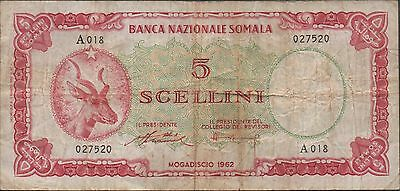 Somalia 5/- 1962 P 1a Series A 018 Circulated Banknote