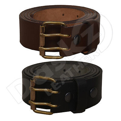 MEN'S LEATHER BELT Double Hole(100% GENUINE)Black,Brown 30''to 64''(waist sizes)