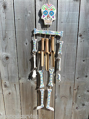 Fair Trade Hand Carved Made Wooden Sugar Skull Candy Skeleton Mobile Wind Chime