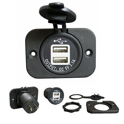 Car 12v to 2 x USB Charger Socket 3.1A Charging for iPad iPhone Tablets Phone
