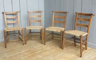 Antique Reclaimed Kitchen / Dining Room Rush Seated Church Chairs