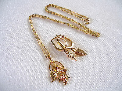 """SET-  'BlackHills Gold'  10/12/14K Gold """"Feather"""" Necklace & Earrings"""