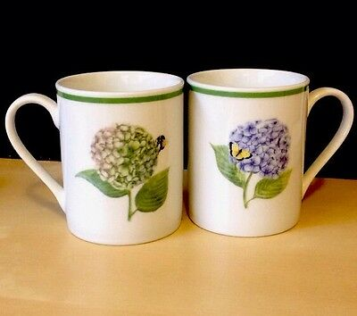 2 American Atelier At Home (Hydrangea) #3376 Porcelain Coffee Mugs