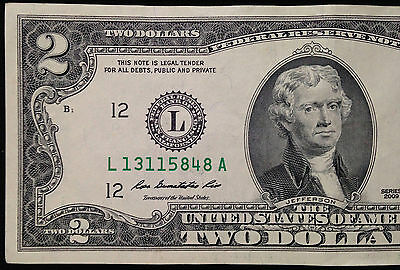 $2 Two Dollar Bill, Crisp AU About Uncirculated US Currency, FRB L San Francisco