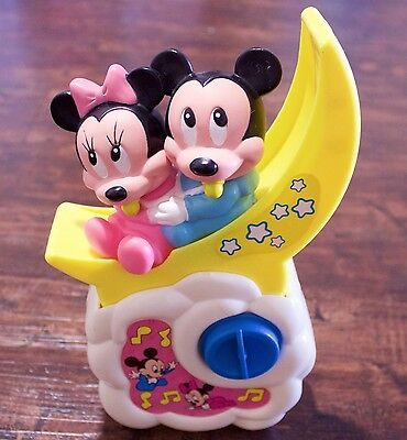 1984 Disney Mickey Mouse & Minnie Babies Baby Crib Musical Toy Wish Upon a Star