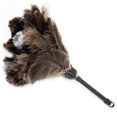 """One Black First Grade  Ostrich Feather Duster 14 """" Overall 350 Mm Plastic Handle"""