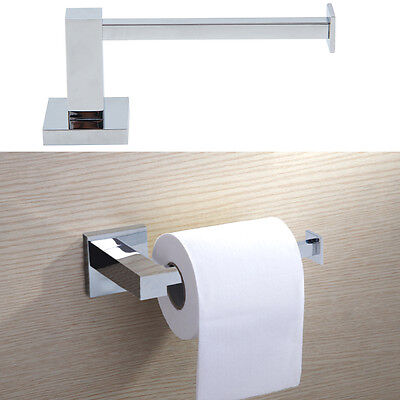 Silver Square Bathroom Toilet Roll Holder Wall Mounted Toilet Roll