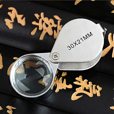 Silver Tone 30X 21mm Folding Jewelry Loupe Magnifying Glass Magnifier New Gift