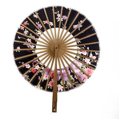 Japanese Windmill Circle Round Hand Fan Sakura Floral Folding Fan Black
