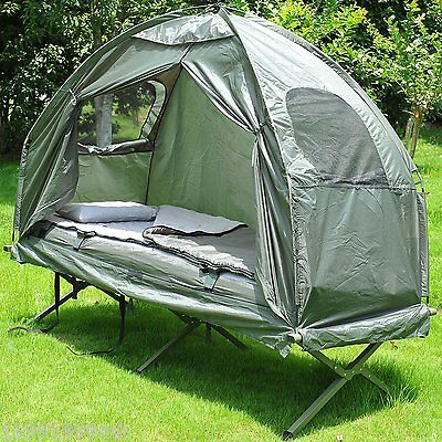 Outsunny 4in1 Portable Hiking Tent Camping Bed Cot Combo w/ Sleep Bag Mattress