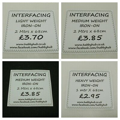 Interfacing Iron on/fusible.1 and 2mtr packets.Light Weight,Medium Weight.Heavy