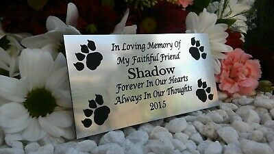 Personalised Engraved Bench Pet Memorial Plaque Dog / Cat 10X5Cm Silver