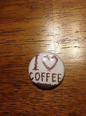 I love Coffee Pin Button Cafe Java Barista Bean Starbucks Caffeine