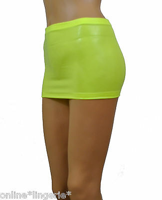 977c6feacf Micro Mini Skirt Neon Yellow Wet Look Lycra Shiny Club Sexy Just 10