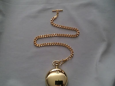 NEW HAND-MADE 22 kt. GOLD PLATED POCKET WATCH CHAIN: VEST STYLE 5mm CUBAN-18""