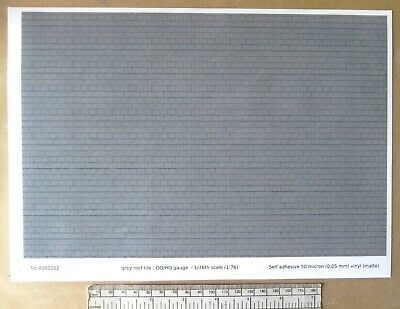 "OO/HO gauge (1:76 scale) ""grey roof tile"" self adhesive vinyl - A4 sheet"