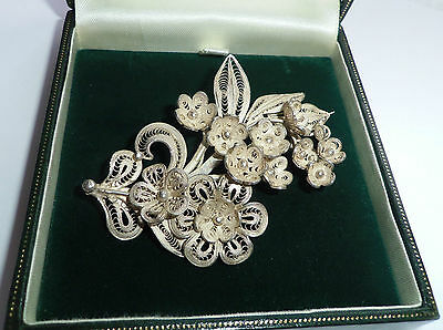Large Vintage Sterling Silver Filigree Flower Brooch