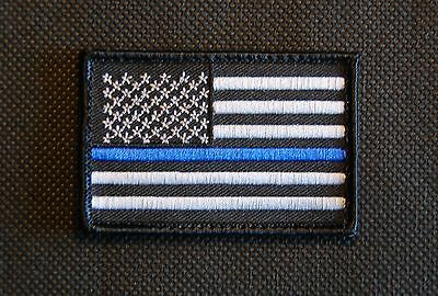 Thin Blue Line United States Flag Patch Police SWAT VELCRO® Brand Hook Backing