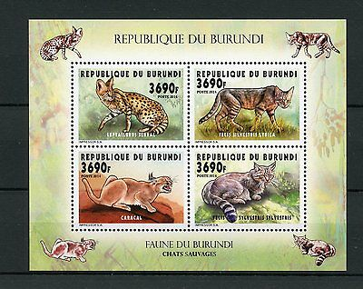 Burundi 2014 MNH Wild Cats 4v M/S Fauna Chats Sauvages Serval Caracal