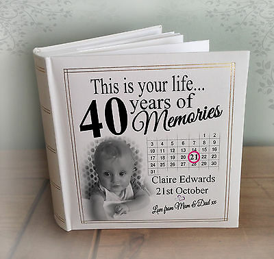 "Personalised large photo album, 200 x 6x4"" photos, 40th birthday memories gift"