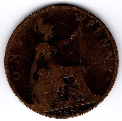 1896 QUEEN VICTORIA ONE PENNY 1d - JUBILEE HEAD COIN (e)