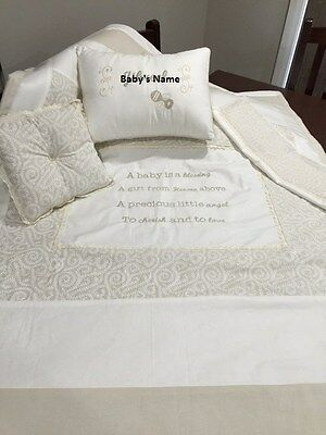 Personalised, Hand-made, Embroidered Baby Cot Set 4 pcs