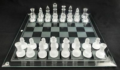 New Elegant 25 x 25 cm Frosted Glass Chess Board 2-In-1 Game Set