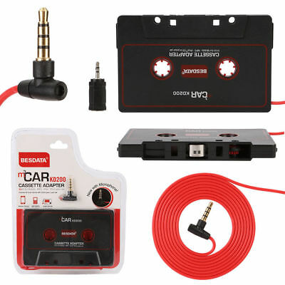 Black Car Music Audio Cassette Tape 3.5mm Jack Adapter with Mic for mobile, MP3