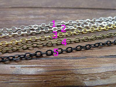 16ft(5m)/ 32ft(10m) 2x3mm 5 colors Plated Brass Soldered Chain Flat Cable Chain