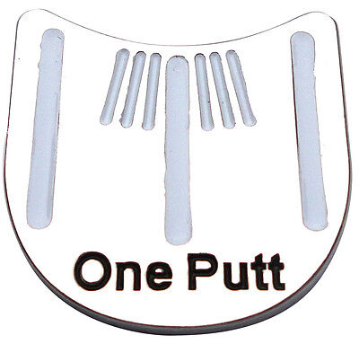 One Putt Golf Ball Marker - Package of 2 - Unique Alignment Tool - White Striped