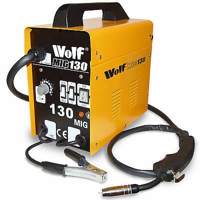 Wolf MIG 130 Portable Welder 230v DC No Gas Welding Gasless + 2 Year Warranty