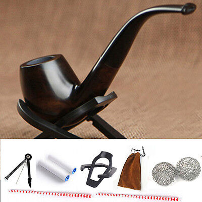 Durable Smoking Pipe Tobacco Cigarettes Cigar Pipes Filter Ebony Wooden Gifts