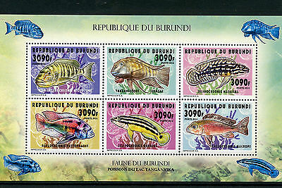 Burundi 2014 MNH Fishes of Lake Tanganyika 6v M/S II Fish Poissons Cichlids