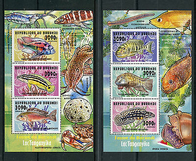 Burundi 2014 MNH Fishes of Lake Tanganyika 2 x Deluxe 3v M/S II Fish Poissons