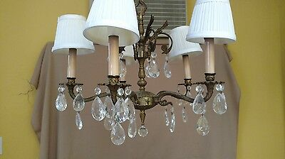 Vintage brass crystal electric chandelier 5 arms newly rewired original canopy