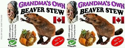BEAVER STEW, 540 ml 19 oz CANNED FOOD LABELS, NOVELTY, PRANK, ODDITIES. GROSS