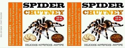 SPIDERS, 540 ml 19 oz CANNED FOOD LABELS, NOVELTY, PRANK, ODDITIES.GROSS
