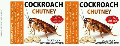 COCKROACHES, 540 ml 19 oz CANNED FOOD LABELS, NOVELTY, PRANK, ODDITIES. GROSS