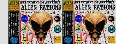 ALIEN RATIONS, 540 ml 19 oz CANNED FOOD LABELS, NOVELTY, PRANK, ODDITIES. GROSS