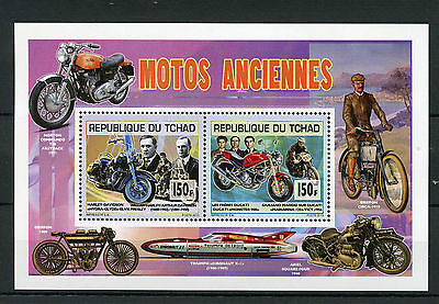 Chad Tchad 2013 MNH Motorcycles 2v Deluxe M/S Motos Harley Davidson Ducati Elvis