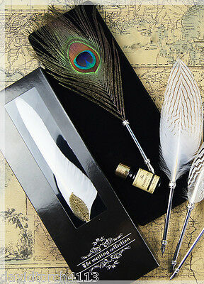Peacock / owl Feather Quill Dip Pen Ink Set Wedding Bridal Registry gift box