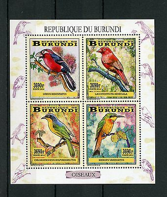 Burundi 2014 MNH Birds of Burundi 4v M/S Oiseaux Barbet Finches Bee-Eaters