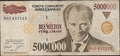 Turkey 5,000,000 Lira ND. 1.1997  P 210 Circulated Banknote