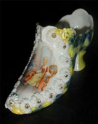 """Glass Shoe Slipper Marked  """"71"""" Unique Painted Revolutionary Couple Daisy Button"""