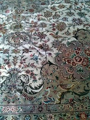 Rare Magnificent Super Fine Hand Knotted Wool & Silk Medallion, Birds Rug 8x10