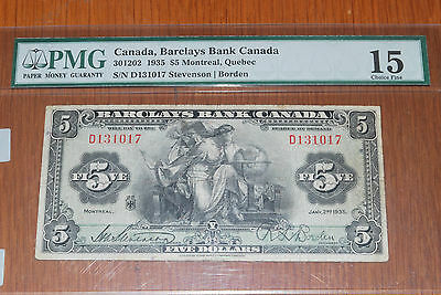 Barclays Bank, 1935, 5$  Graded By Pmg Choice Fine 15
