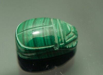 Egyption Scarab Beetle Carving Green Malachite 12mm x 20mm drilled for necklace